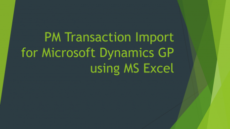 PM Transaction Import for Microsoft Dynamics GP using MS Excel